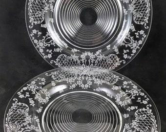 "Two - Cambridge, Minerva, Etch No. 762, 8"" Crystal Luncheon Plates"