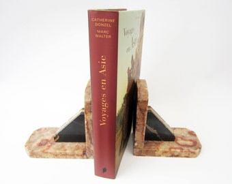 Vintage marble BOOKENDS⎮Art deco style⎮black brown⎮mid century modern retro⎮set of 2