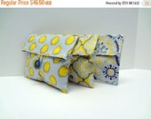 ON SALE READY To Ship Gray and Yellow Foldover Bags Bridesmaid Clutches
