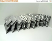 ON SALE Set of 9 Gray Bridesmaid Clutches Gray and White Makeup Bags