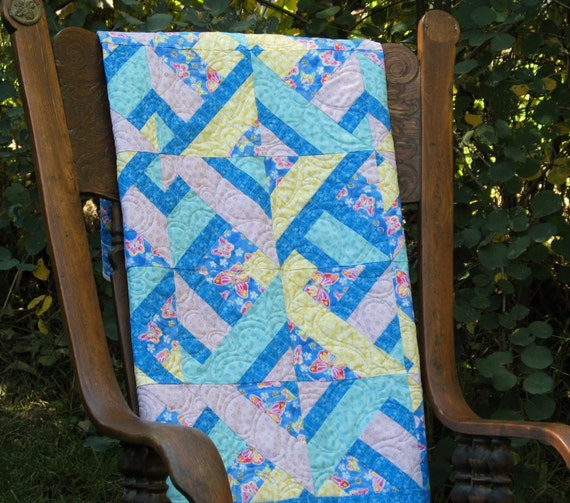Baby Girl Quilt In Blue Purple Yellow And Aqua With