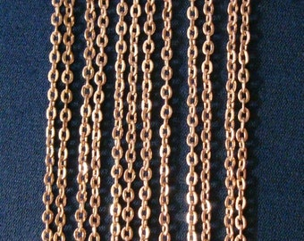 6 Feet light rose gold plated flat cable chain 3mm x 2mm 1/8 in 13 links per in pch076