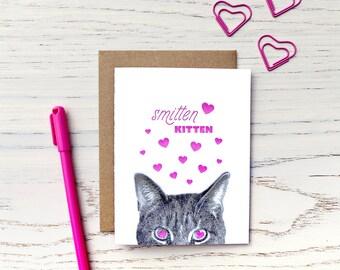gee whiskers series: smitten kitten letterpress greeting card