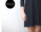 Polkadots shift dress / Long sleeve Tshirt dress / Black jersey tunic  - 20% Off - On sale