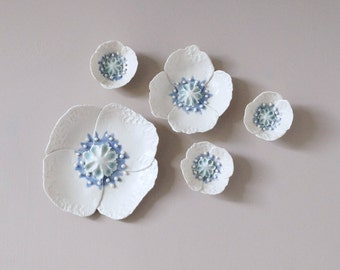 POPPY cetamic wall art, 5 sculpted porcelain flowers, fine art ceramic flowers, white celadon cobalt ceramic glazes