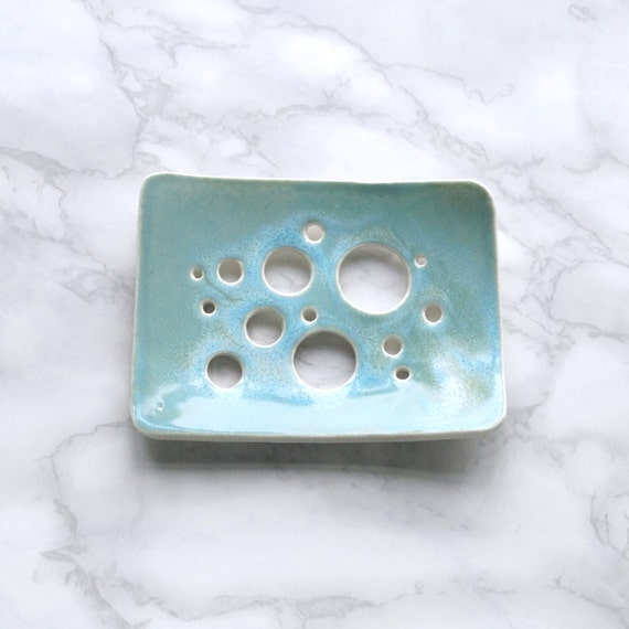 Bubble HOLES soap dish with aqua / turquoise glaze, white porcelain soap dish, ceramic soap dish, bathroom accessory, geometric design