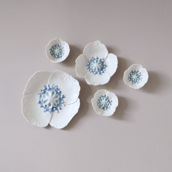 POPPY wall art, 5 sculpted porcelain flowers, fine art ceramic flowers, white celadon cobalt ceramic glazes
