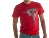 CLEARANCE Unisex Eterna Red and Grey Splatter Skull - Large