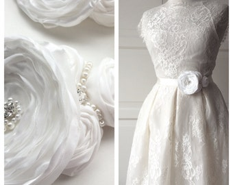 Romantic  Bridal Satin and Chiffon Belt Flower Sash for Wedding