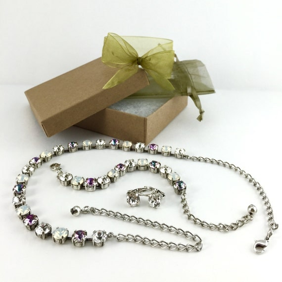 Swarovski Crystal Necklace, Bracelet and Earring Combo in Crystal, White Opal, and Vitral Light Buy all 3 and save!