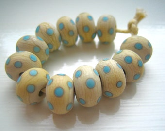 South Western Polkas, Classic Turquoise and Ivory Polka Dot Lampwork Beads, SRA, UK Seller