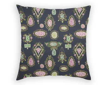 Throw Accent Pillow Decorative Cover Cushion Designer Home Decor Edwardian Brooches Charcoal Green Gold Pink Linen Cotton Jewels Gems Pretty