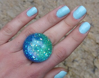 Aqua Tidal Wave Blue Mermaid Bubble Resin Ring, Iridescent Blue-Green Seapunk Resin Ring, Blue/Mint Ombre Ocean Dome Ring, Beach Babe Ring