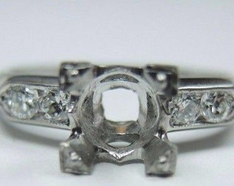 Antique Diamond Platinum Engagement Ring Setting | Will Hold 6MM-6.5MM | ES-183