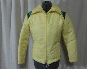 Vintage 70s Roffe Light Yellow Green Stripe 100% Goose Down Puffer Ski Coat  Small