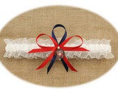 Sheer White Wedding Toss Garter with U.S. Marine Corps Theme