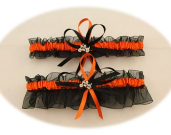 Black and Orange Wedding Garter with Motorcycle Charms, Bridal Garters, Prom Garter  (Your Choice, Single or Set)