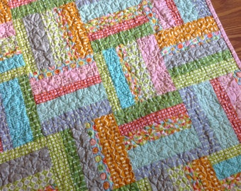 Quilt Baby Girl, stripes,  in Pink, aqua, green, orange, grey