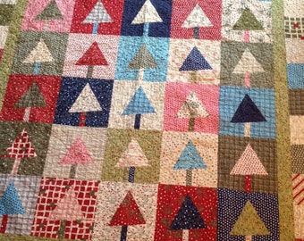 Christmas Trees Lap Quilt in Crazy 8 by Sandy Gervais -- red, green, blue, teal pink, navy