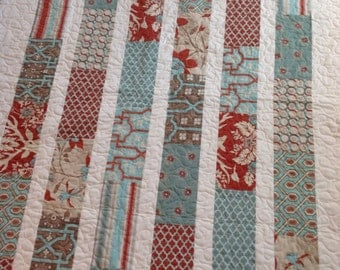 Joel Dewberry Lap or Baby Quilt-- Deer Valley-- blue, aqua, red, cream, taupe, tan-- pattern also available