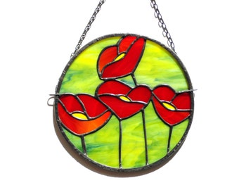 Red poppies, stained glass suncatcher, poppy suncatcher, red lime green, round suncatcher panel, glass poppies, modern home decoration