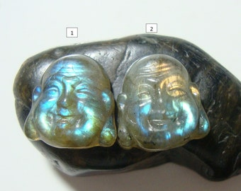 Labradorite Fiery Blue Gold Flashy Buddha Head Cabochon, Hand Crafted, Kindest Smile Buddha, AAA+, 12x13mm, n21-5