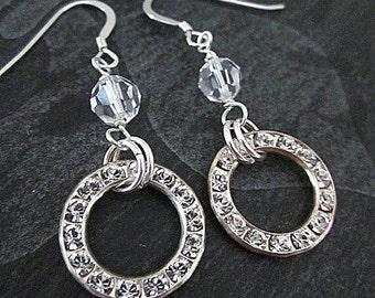 Crystal Hoop Earrings -- Clear Crystal Bridal Earrings -- Bling Hoops -- Crystal Hoops -- Sparkling Bridal Earrings -- Bling Drops