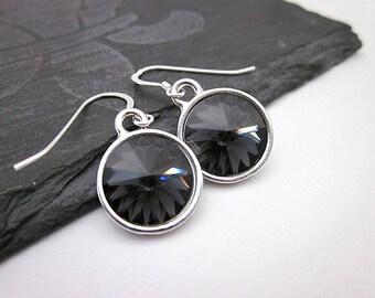 Grey Crystal Drops -- Grey Swarovski Earrings -- Silver & Dark Grey Earrings -- Round Grey Dangles -- Dark Grey Swarovski Earrings -Graphite