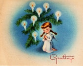 Vintage Christmas Card Angel Tree Lights Decorations