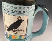 Raven,Crow,Blackbird,Queen,Raven Mug,Crow Mug,Unique Mug,Blue,Mug