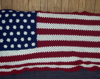 American Flag Afghan Stars And Stripes Afghan Crochet Afghan  Made To Order