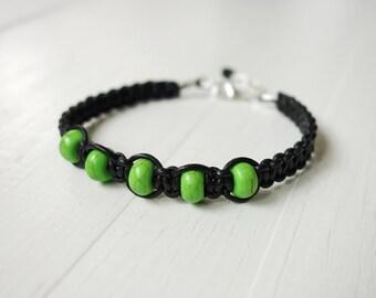 Leather bracelet green howlite beads braided black bracelet unisex men women