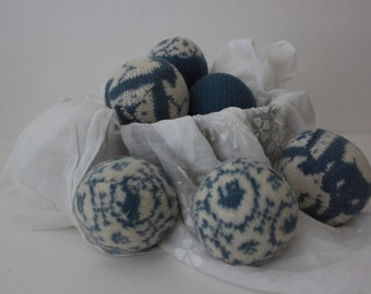 Wool Dryer Balls, Set of 6 from Repurposed Holiday Sweaters in Willow Blue