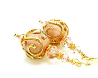 Pink Earrings, Lampwork Earrings, Glass Earrings, Glass Scroll Earrings, Glass Bead Earrings, Unique Glass Earrings, Beadwork Earrings