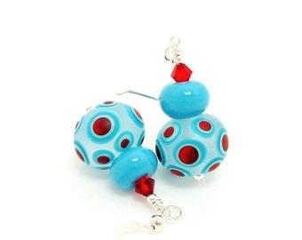 Polka Dot Earrings, Lampwork Earrings, Glass Earrings, Glass Bead Earrings, Beadwork Earrings, Unique Earrings, Geometric Earrings