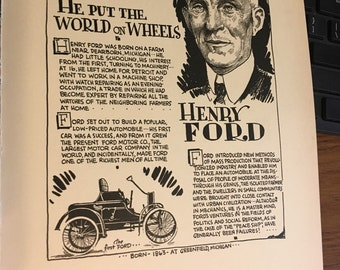 Book page print Henry Ford He put the World on wheels! 7 x11 Great for framing for the collector. History.