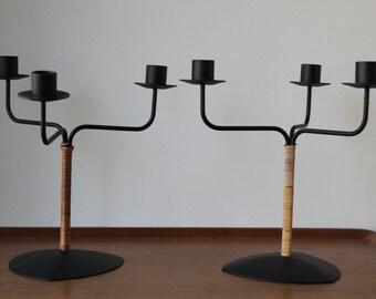 Pair of Vintage Laurids Lønborg Candelabra, Candle Holder, Metal, Black Iron, Bamboo,