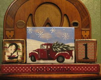 Christmas Countdown Blocks -  Advent Calendar Vintage Truck and Tree