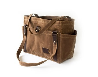 NO. 521 Large Waxed Canvas Tote Bag with Multiple Pockets in Brown Personalized Weekender Travel Diaper Bag Carryall Tote Made in the USA