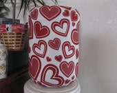 Happy Valentine Bottle Cover- white Dark Red