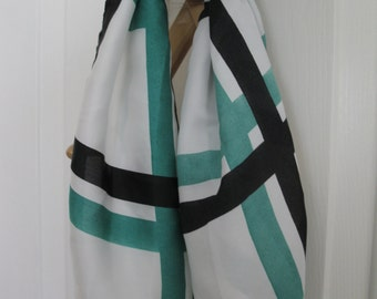 Stripe Silk Scarf/Green Black and White Scarf
