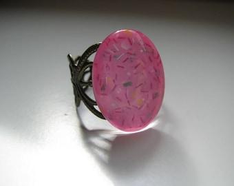 Spring Pink Filigree Nail Polish Ring