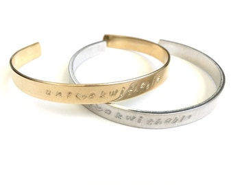 ONE Skinny Unf@ckwithable Hand Stamped Stackable Cuff