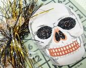 Halloween Die Cut Ornament Spooky Skeleton Bingo Game Card Tinsel Pick Miniature Key DIY Holiday Vintage Project Inspiration Kit