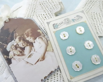 Sew Sweet Vintage Crochet Trim MOP Shell Sewing Button Card Punched Tin Metal Tag Decoration Ornament Lot