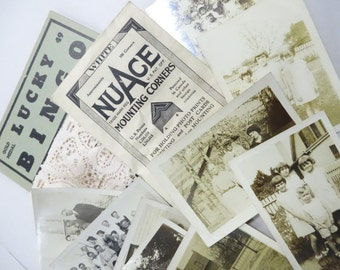 Estate Family Photographs 1920's Era NuAce White Photo Mounting Corners Package Lucky Bingo Card Lace Trim Inspiration Crafty Destash Lot