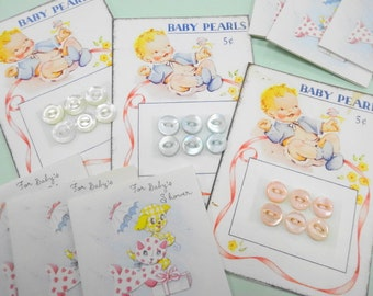 Darling Baby Pearls (3) EA Carded Button Sets Vintage Inspired Sewing Notions Supply
