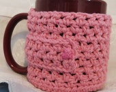 Handmade Crocheted Pink Mug Cozy 100% Cotton