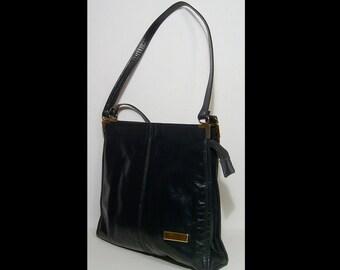1970s jet black leather tote bag ~ patent shopper purse laptop ipad satchel roomy weekender overnight shoulder bag 70s ~ caramel felt lined