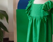 Wings Dress in Kelly Green Linen